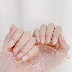 圆形粉色晕染短指甲美甲图片