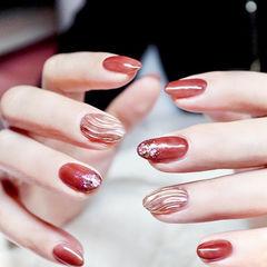 圆形红色玫瑰金亮片水波纹新年美甲图片