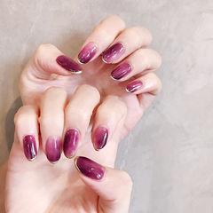 圆形紫色晕染法式全国连锁日式学校学美甲加微信:mjbyxs15美甲图片
