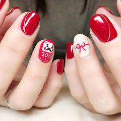 圆形红色白色手绘蝴蝶结新年全国连锁日式学校学美甲加微信:mjbyxs15美甲图片