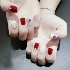 方圆形红色白色银色手绘花朵全国连锁日式学校学美甲加微信:mjbyxs15美甲图片