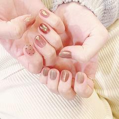 圆形粉色裸色金箔波点短指甲全国连锁日式学校学美甲加微信:mjbyxs15美甲图片