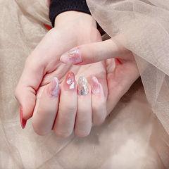 圆形粉色晕染贝壳片全国连锁日式学校学美甲加微信:mjbyxs15美甲图片