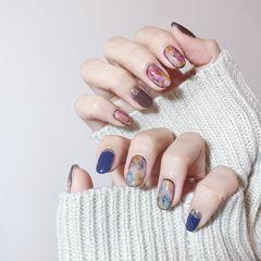 圆形蓝色紫色晕染全国连锁日式学校学美甲加微信:mjbyxs15美甲图片