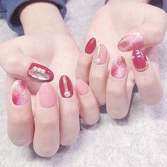 圆形红色粉色晕染珍珠钻全国连锁日式学校学美甲加微信:mjbyxs15美甲图片