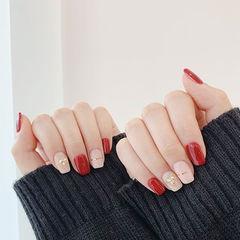 方圆形红色裸色金银线美甲图片