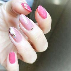 圆形粉色玫红色贝壳片全国连锁日式学校学美甲加微信:mjbyxs15美甲图片