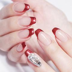 方圆形红色钻珍珠法式美甲图片