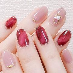 圆形红色粉色晕染珍珠全国连锁日式学校学美甲加微信:mjbyxs15美甲图片