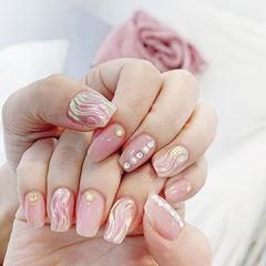 方圆形粉色水波纹珍珠全国连锁日式学校学美甲加微信:mjbyxs15美甲图片