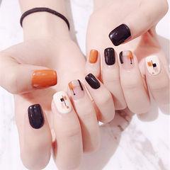 方圆形黑色橙色白色手绘跳色美甲图片