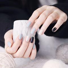 方圆形黑色白色灰色毛衣纹跳色全国连锁日式学校学美甲加微信:mjbyxs15美甲图片