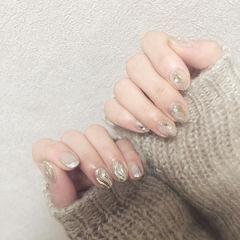 圆形银色晕染水波纹贝壳片短指甲全国连锁日式学校学美甲加微信:mjbyxs15美甲图片