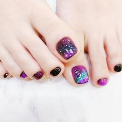 脚部紫色晕染星空全国连锁日式学校学美甲加微信:mjbyxs15美甲图片