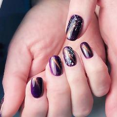 方圆形紫色雪花猫眼美甲图片