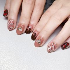 圆形棕色手绘巧克力珍珠全国连锁日式学校学美甲加微信:mjbyxs15美甲图片