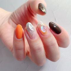 圆形橙色银色棕色水波纹跳色全国连锁日式学校学美甲加微信:mjbyxs15美甲图片