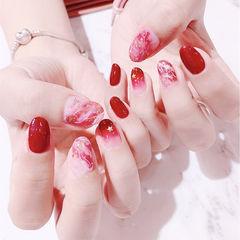 圆形红色晕染金箔新娘全国连锁日式学校学美甲加微信:mjbyxs15美甲图片
