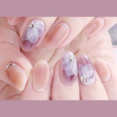 圆形紫色裸色白色手绘花朵全国连锁日式学校学美甲加微信:mjbyxs15美甲图片