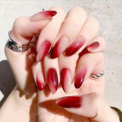 尖形酒红色裸色晕染全国连锁日式学校学美甲加微信:mjbyxs15美甲图片