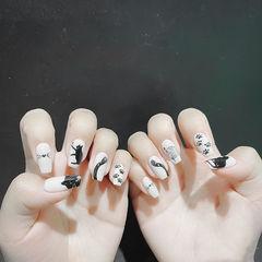 方形黑色白色手绘猫咪可爱全国连锁日式学校学美甲加微信:mjbyxs15美甲图片