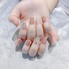 方圆形裸色银色水波纹贝壳片全国连锁日式学校学美甲加微信:mjbyxs15美甲图片