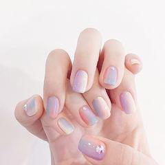 方圆形粉色紫色蓝色竖形渐变美甲图片