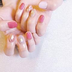 圆形粉色裸色水波纹贝壳片全国连锁日式学校学美甲加微信:mjbyxs15美甲图片