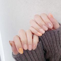方圆形橙色裸色晕染全国连锁日式学校学美甲加微信:mjbyxs15美甲图片