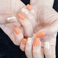 方圆形橙色贝壳片美甲图片