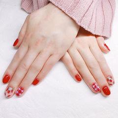 圆形红色手绘草莓水果格纹美甲图片