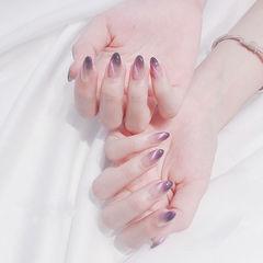 圆形紫色猫眼美甲图片
