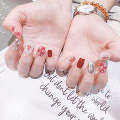 方圆形红色银色水波纹晕染贝壳片珍珠全国连锁日式学校学美甲加微信:mjbyxs15美甲图片
