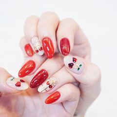 圆形红色白色樱桃亮片全国连锁日式学校学美甲加微信:mjbyxs15美甲图片