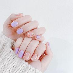 方圆形紫色亮片美甲图片