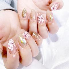 圆形裸色粉色金色手绘花朵全国连锁日式学校学美甲加微信:mjbyxs15美甲图片