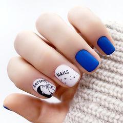 方圆形蓝色白色手绘可爱磨砂美甲图片