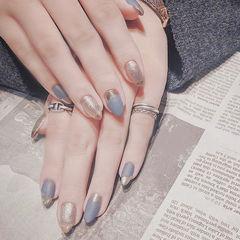 圆形蓝色银色平法式磨砂美甲图片
