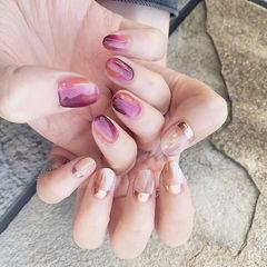 圆形紫色裸色晕染全国连锁日式学校学美甲加微信:mjbyxs15美甲图片
