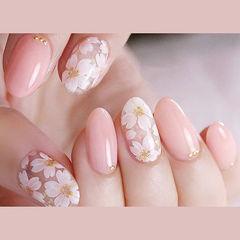 圆形粉色白色花朵全国连锁日式学校学美甲加微信:mjbyxs15美甲图片
