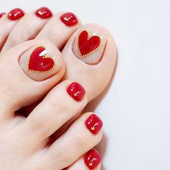 脚部红色心形新娘全国连锁日式学校学美甲加微信:mjbyxs15美甲图片