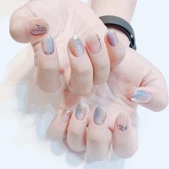 圆形蓝色裸色晕染金箔全国连锁日式学校学美甲加微信:mjbyxs15美甲图片
