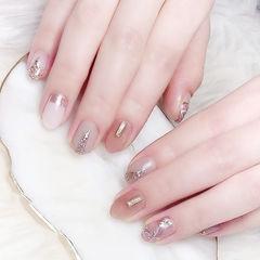 圆形粉色裸色晕染银箔全国连锁日式学校学美甲加微信:mjbyxs15美甲图片