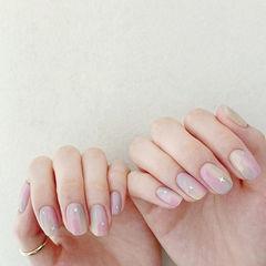 方圆形粉色灰色晕染亮片美甲图片