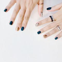方圆形蓝色金色白色豹纹磨砂美甲图片