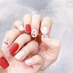 方圆形红色裸色手绘水果樱桃磨砂美甲图片