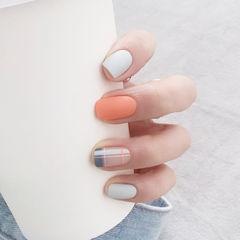方圆形橙色白色格纹磨砂全国连锁日式学校学美甲加微信:mjbyxs15美甲图片