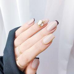 方圆形裸色棕色钻金属饰品法式美甲图片