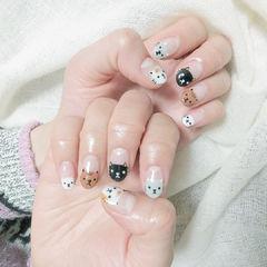 圆形棕色黑色白色手绘猫咪可爱全国连锁日式学校学美甲加微信:mjbyxs15美甲图片