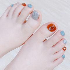 脚部焦糖色蓝色银色水波纹全国连锁日式学校学美甲加微信:mjbyxs15美甲图片